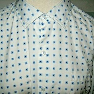 White Blue Square Silk Blend Button Dress Shirt XL
